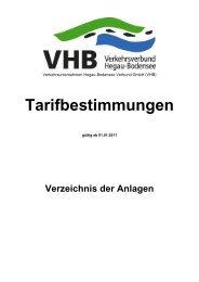 Tarifbestimmungen des Verkehrsverbundes Hegau-Bodensee (VHB)
