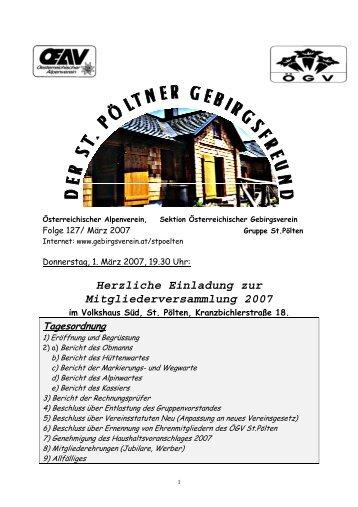 Herzliche Einladung zur Mitgliederversammlung 2007