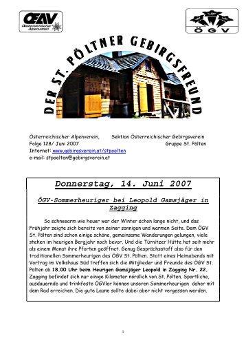 Donnerstag, 14. Juni 2007 - Gebirgsverein St. Pölten