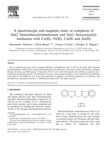 A spectroscopic and magnetic study of complexes of - Scienza dei ...