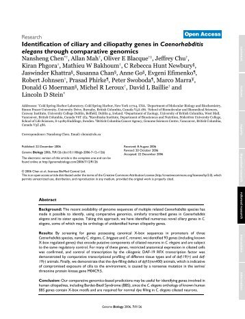 Identification of ciliary and ciliopathy genes in Caenorhabditis ...