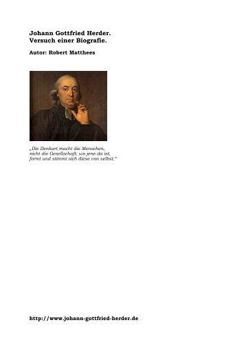 Johann Gottfried Herder. Versuch einer Biografie. - Robert Matthees ...