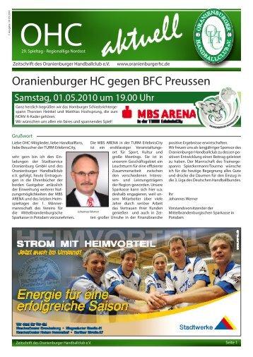 Oranienburger HC gegen BFC Preussen