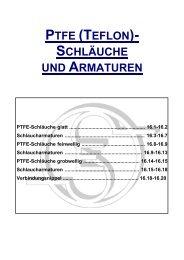 PTFE (TEFLON)- SCHLÄUCHE UND ARMATUREN