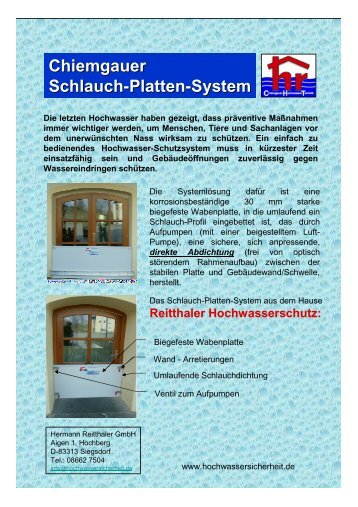 Chiemgauer Schlauch-Platten-System - Hochwasserschutz ...