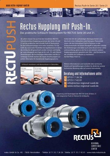 Rectus Schnellkupplung mit Push-In Funktion für Schläuche