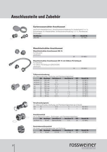 Anschlussteile und Zubehör - Rossweiner