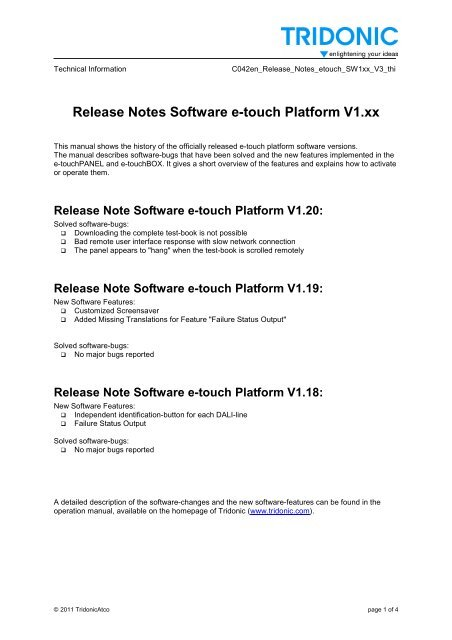 bf71b63bb Release Notes Software e-touch Platform V1.xx