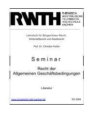 Seminar - Lehrstuhl für Bürgerliches Recht, Wirtschaftsrecht und ...
