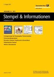 Ausgabe 16 - 2011   05. August 2011 - Deutsche Post - Philatelie