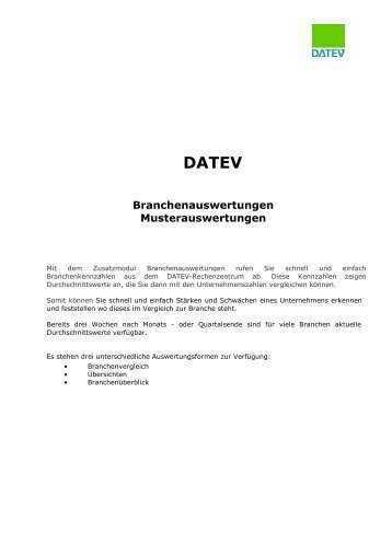 DATEV Branchenauswertungen Musterauswertungen - PRANGE ...