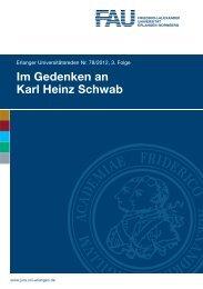 Im Gedenken an Karl Heinz Schwab - Universität Erlangen-Nürnberg
