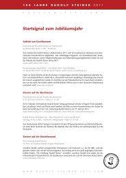 Startsignal zum Jubiläumsjahr - 150 Jahre Rudolf Steiner 2011