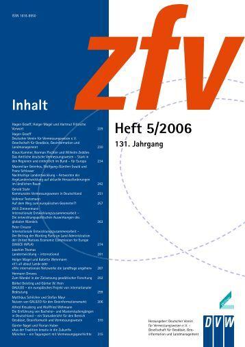 Inhalt Heft 5/2006 - Deutscher Verein für Vermessungswesen eV