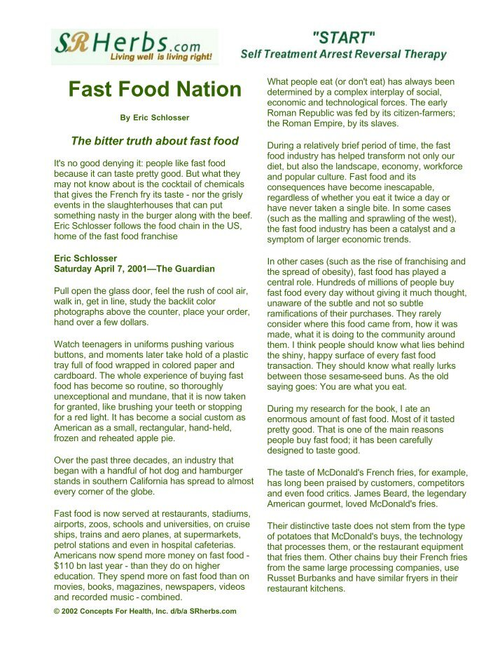a rhetorical analysis of eric schlossers book fast food nations A fast food nation research paper attempts to present a brief analytical review of eric schlosser's book fast food nation this book represents an ambitious undertaking, an attempt to assess the role that fast food restaurants play in the economic, psychological, political, environmental.