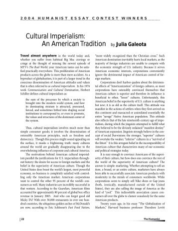 The Importance Of Learning English Essay Cultural Imperialism An American Tradition By Julia   The Humanist Reflection Paper Essay also Business Plan Essay Its Only A Movie  Right Deconstructing Cultural Imperialism Religion And Science Essay
