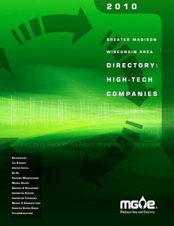 2010 Greater Madison Wisconsin High-Tech Companies - MGE.com