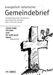 11 / 2012 Jesus sagt: Ich lebe und ihr sollt auch leben. - kirche.org.au