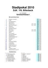 Stadtpokal 2010 DJK / VfL Billerbeck Schützenklasse I