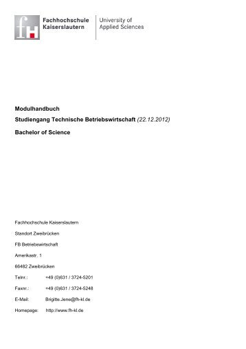 Bachelor of Science - FHInfo - Fachhochschule Kaiserslautern