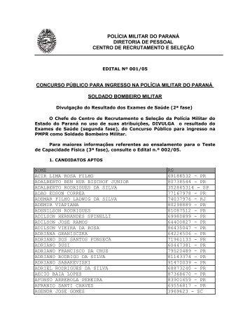 polícia militar do paraná diretoria de pessoal centro - Concursos