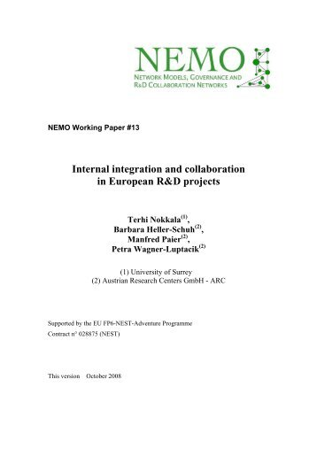 Internal integration and collaboration in European R&D ... - Nemo