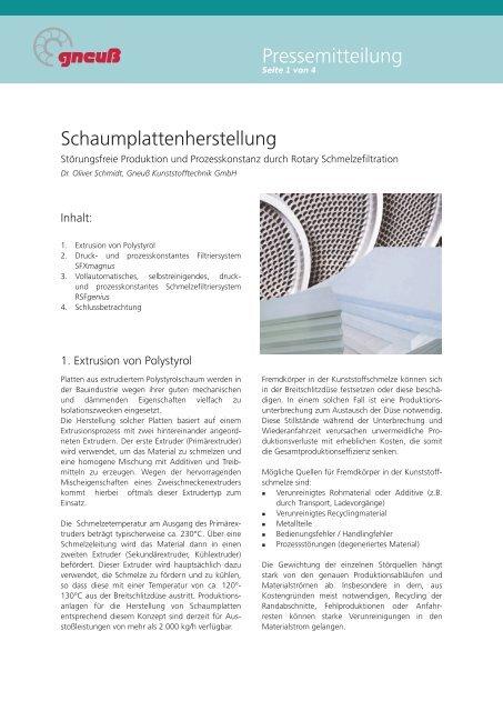 Pressemitteilung - Gneuss Kunststofftechnik GmbH