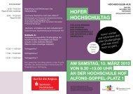HOFER HOCHSCHULTAG - Hochschule Hof