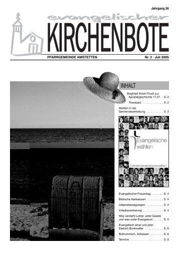 Urlaub des Pfarrers: 1. - 30. August 2005 - Evangelische ...