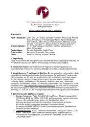 Pfarrgemeinderat Protokoll der Sitzung vom 7. Mai 2012 Anwesende