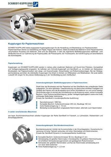 Kupplungen für Papiermaschinen - SCHMIDT-KUPPLUNG