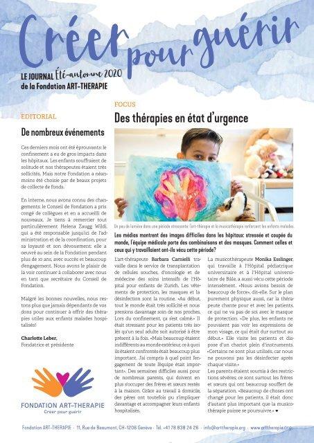 Journal Fondation ART-THERAPIE Été-automne 2020