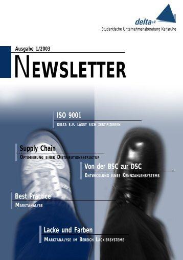 EWSLETTER Ausgabe 1/2003 Supply Chain OPTIMIERUNG EINER ...