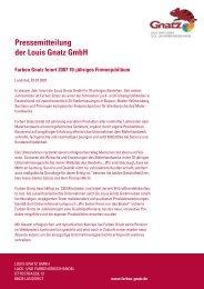 Pressemitteilung der Louis Gnatz GmbH Farben Gnatz feiert 2007 ...