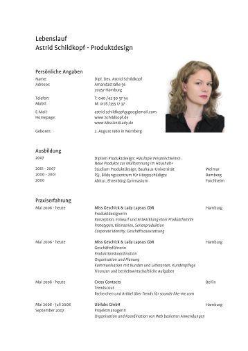 kompletten lebenslauf als pdf herunterladen astrid schildkopf