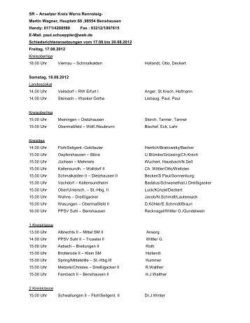 Schiedsrichter-Ansetzungen vom 17.08. bis 20.08.2012