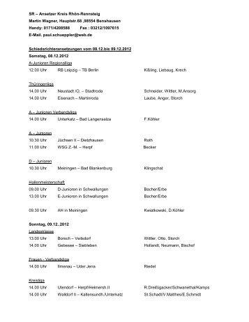 Schiedsrichter-Ansetzungen vom 08.12. bis 09.12.2012