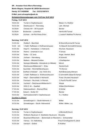 Schiedsrichter-Ansetzungen vom 12.07. bis 16.07.2012