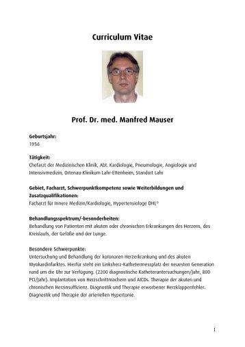 Curriculum Vitae Prof. Dr. med. Manfred Mauser - Ortenau Klinikum