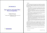 TEXTBOOK ON Superconductivity and Josephson Effect: Physics ...