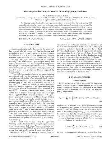 Ginzburg-Landau theory of vortices in a multigap ... - Inac