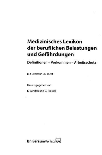 Medizinisches Lexikon der beruflichen Belastungen und ...