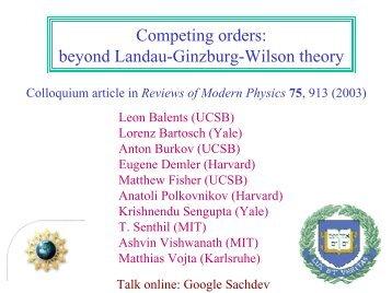 Competing orders: beyond Landau-Ginzburg-Wilson theory