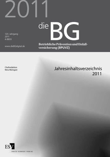 Jahresinhaltsverzeichnis 2011 - Erich Schmidt Verlag