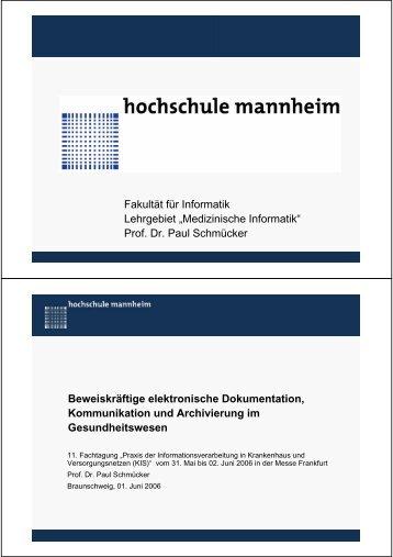 Vortragsfolien - Fakultät für Informatik - Hochschule Mannheim