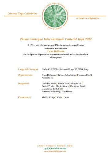 Primo Convegno Internazionale Centered Yoga 2012 - Jyotim