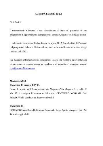 AGENDA EVENTI ICYA - Dona Holleman