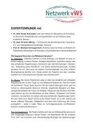 EXPERTENRUNDE mit - Netzwerk von-Willebrand-Syndrom