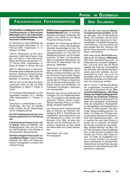physikgeschichte - Austrian Physical Society