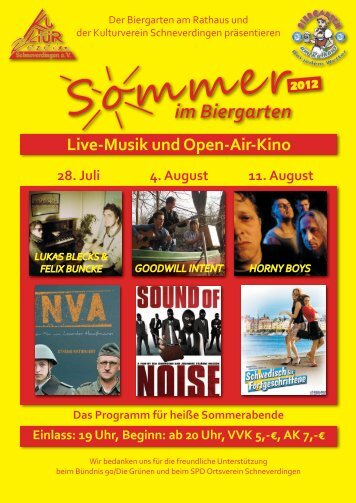 Samstag, 4. August, ab 20 Uhr - Kulturverein Schneverdingen eV